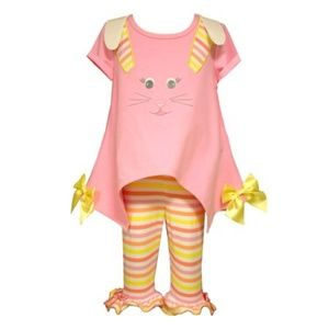 Bonnie Baby Easter Bunny Ears Legging Set Outfit